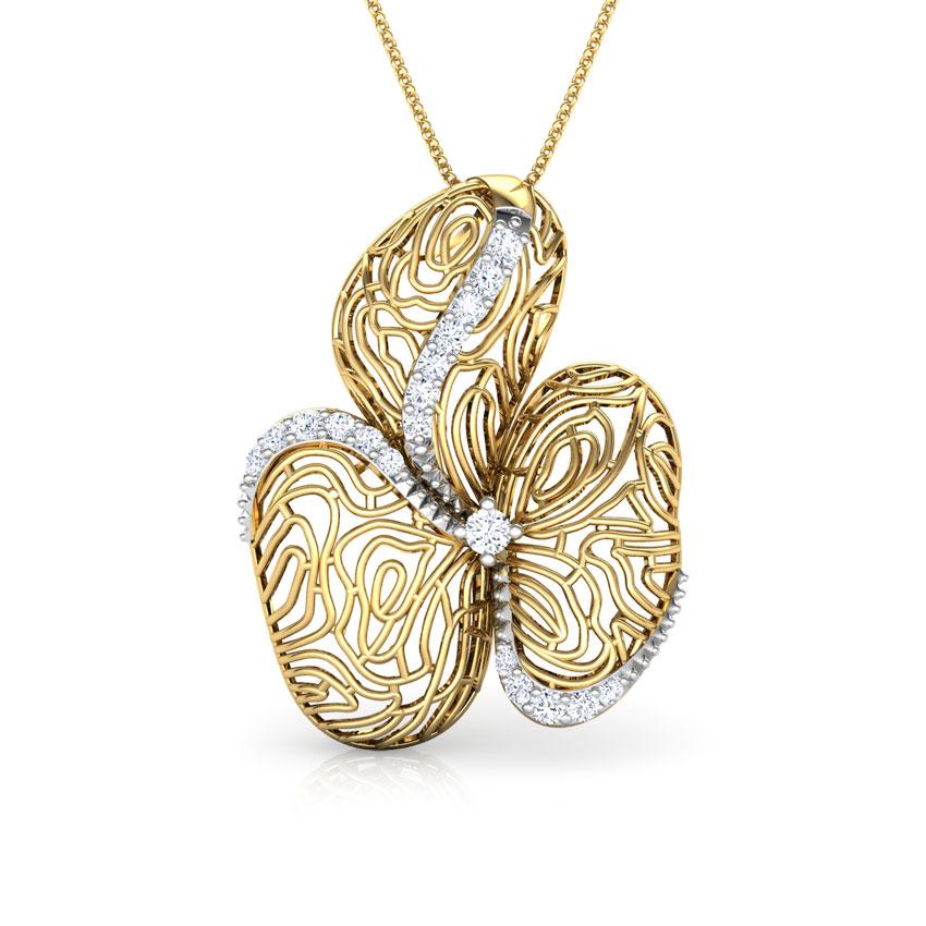 Diamond Pendants 18 Karat Yellow Gold Maple Wood Grain Diamond Pendant