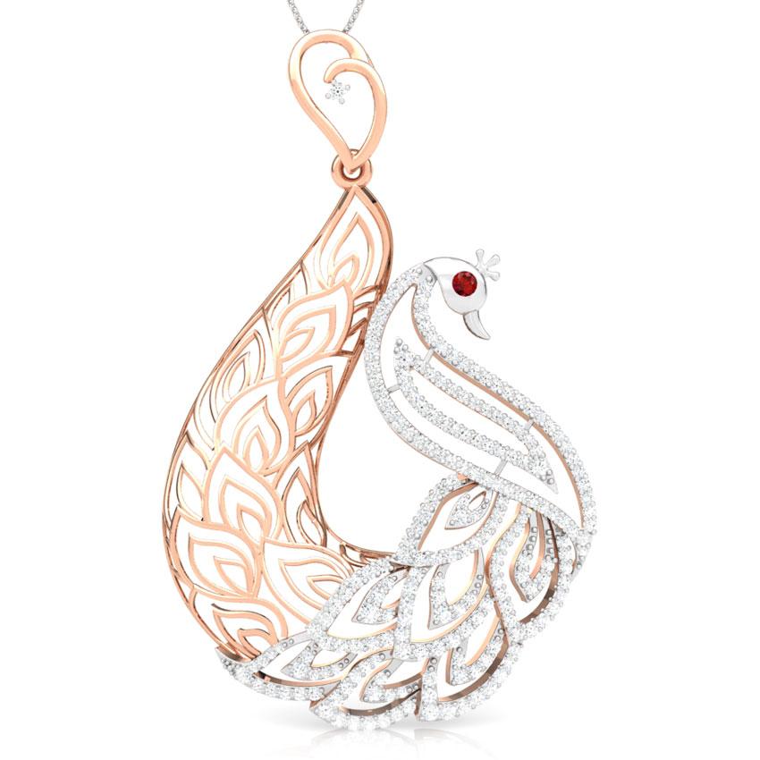 Peafowl Trellis Diamond Pendant