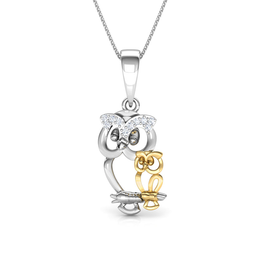 Baby Owl Mother and Daughter Pendant