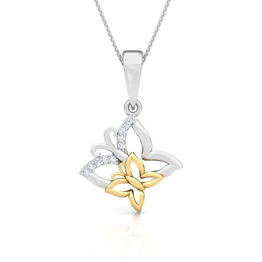 Diamond Pendants 18 Karat Two Tone Gold Butterfly Diamond Pendant