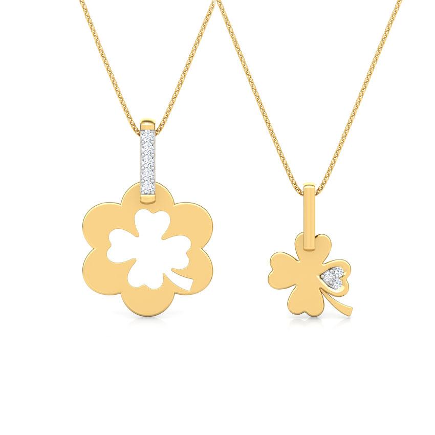 Diamond Pendants 14 Karat Yellow Gold Clover Mother and Daughter Duo Diamond Pendant