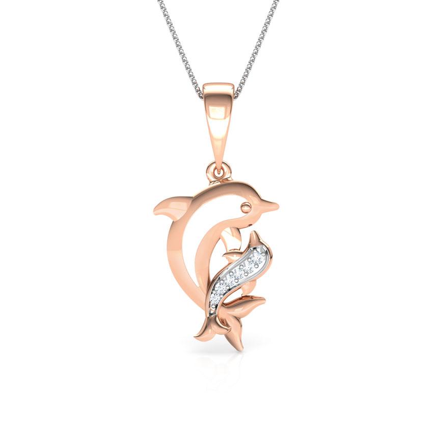 Diamond Pendants 18 Karat Rose Gold Dolphin Mother and Daughter Diamond Pendant