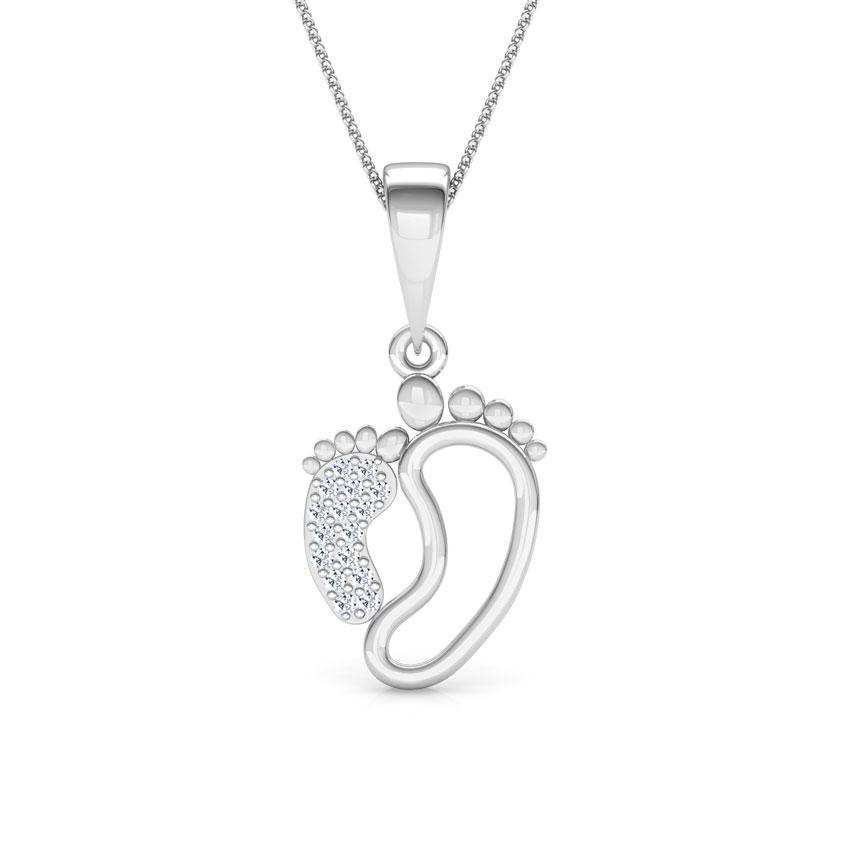 Diamond Pendants 14 Karat White Gold First Steps Mother and Daughter Diamond Pendant