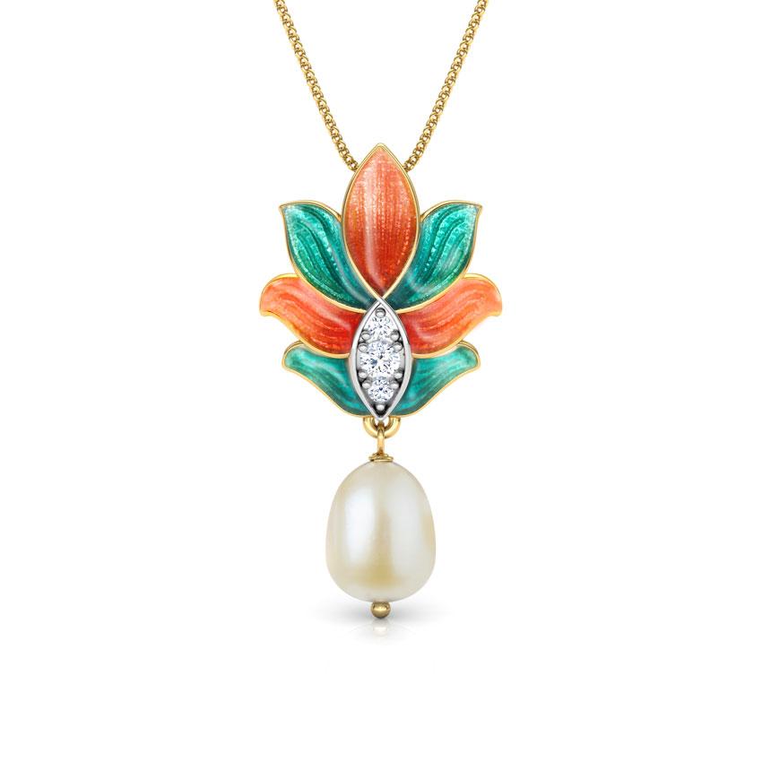 Diamond,Gemstone Pendants 18 Karat Yellow Gold Samira Lotus Gemstone Pendant