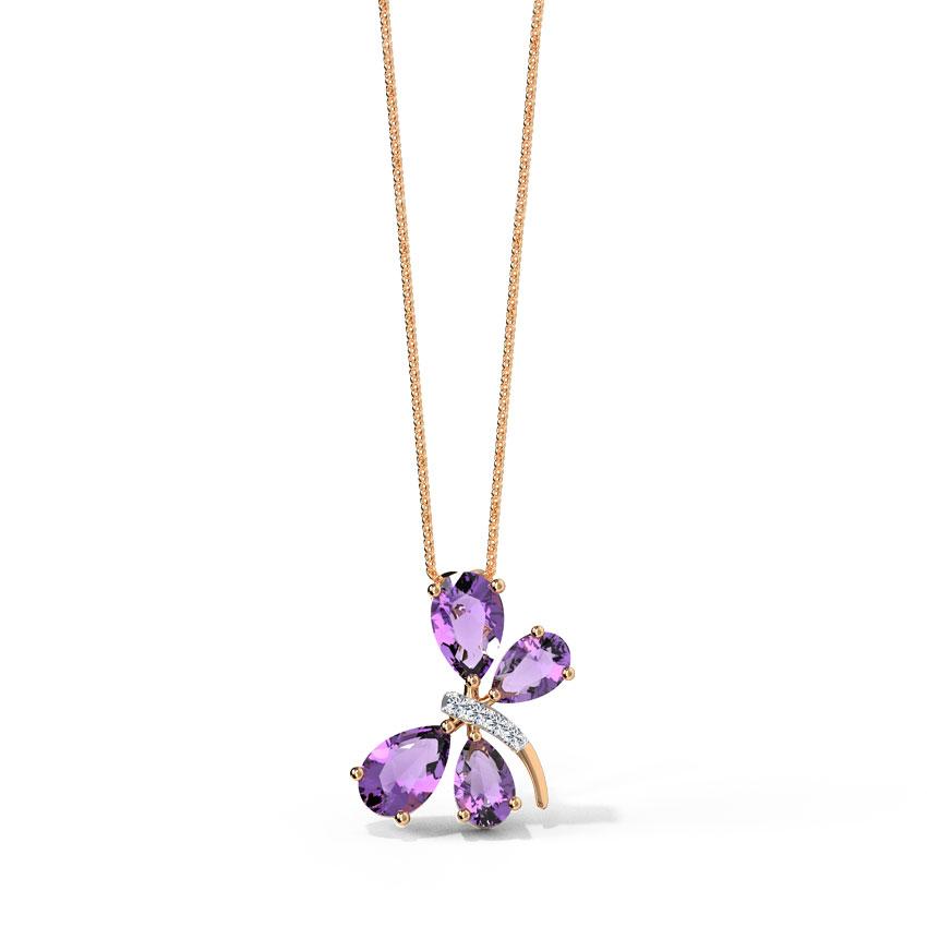 Diamond,Gemstone Pendants 14 Karat Rose Gold Flutter Gemstone Pendant