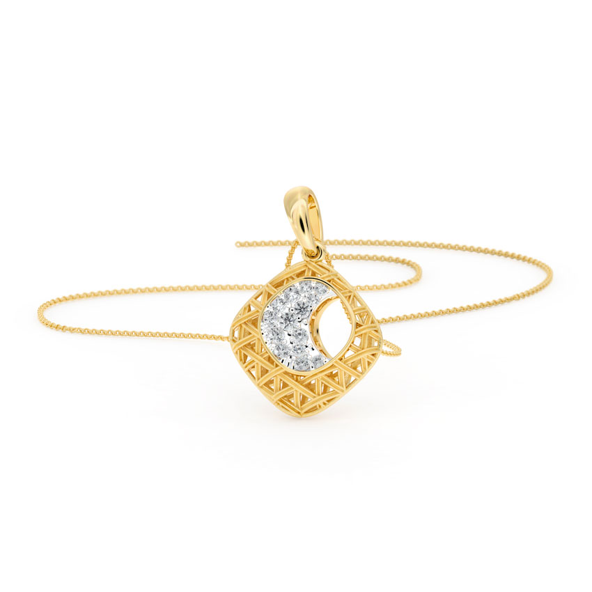 Diamond Pendants 18 Karat Yellow Gold Modish Interlaced Diamond Pendant