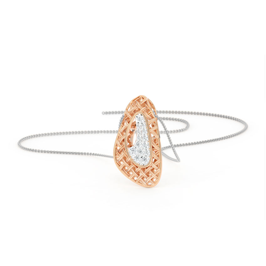 Diamond Pendants 18 Karat Rose Gold Asymmetric Twill Diamond Pendant