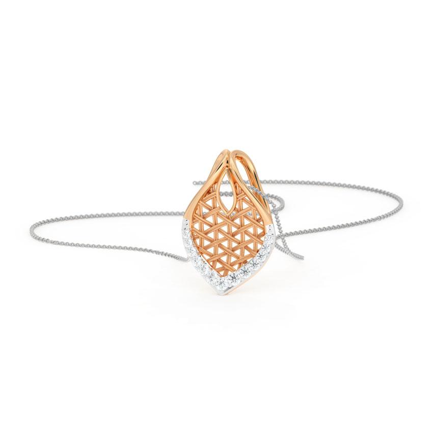Diamond Pendants 18 Karat Rose Gold Sway Interlaced Diamond Pendant