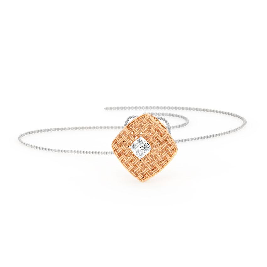 Diamond Pendants 14 Karat Rose Gold Checkered Twill Diamond Pendant
