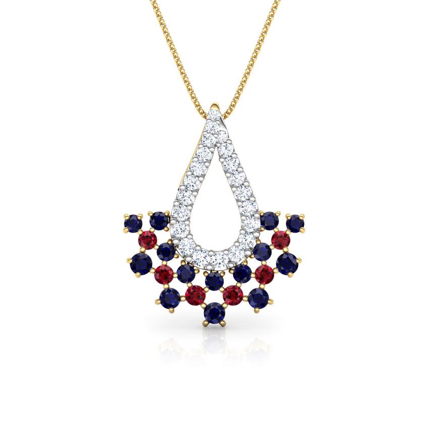 Diamond,Gemstone Pendants 18 Karat Yellow Gold Veda Vibrant Gemstone Pendant