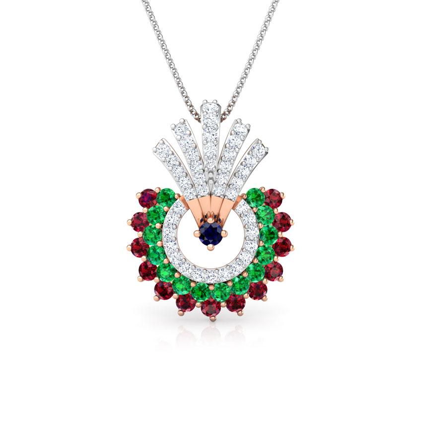 Diamond,Gemstone Pendants 18 Karat Rose Gold Hrishita Vibrant Gemstone Pendant