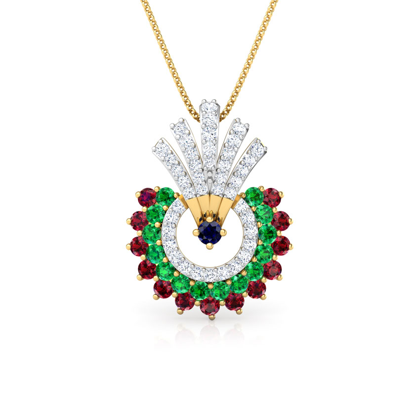 Diamond,Gemstone Pendants 18 Karat Yellow Gold Hrishita Vibrant Gemstone Pendant