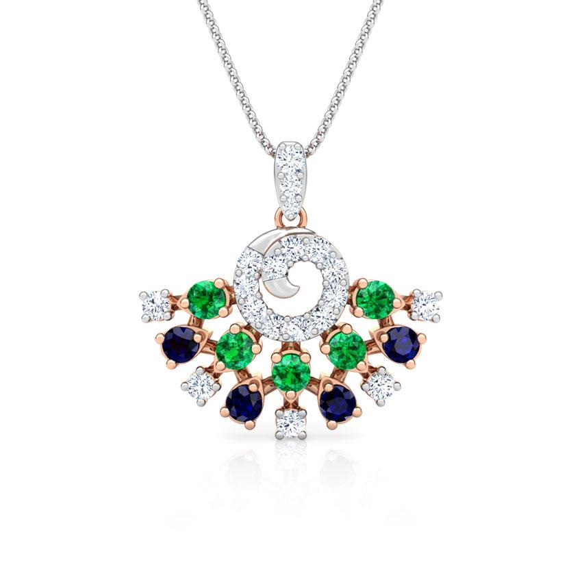 Diamond,Gemstone Pendants 18 Karat Rose Gold Tanya Vibrant Gemstone Pendant