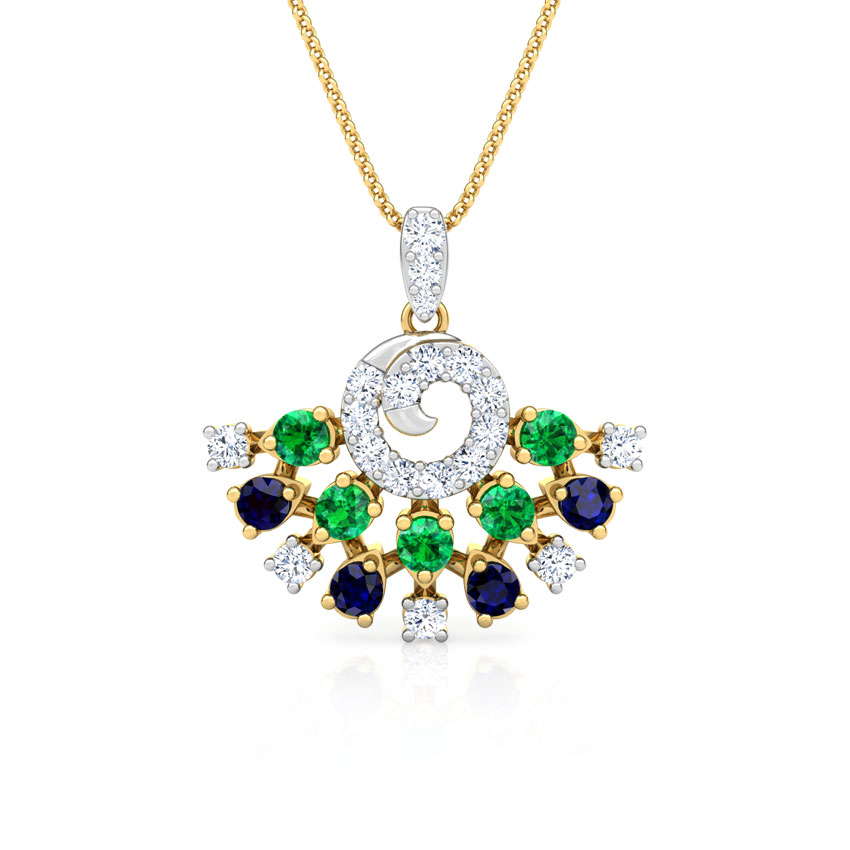 Diamond,Gemstone Pendants 18 Karat Yellow Gold Tanya Vibrant Gemstone Pendant