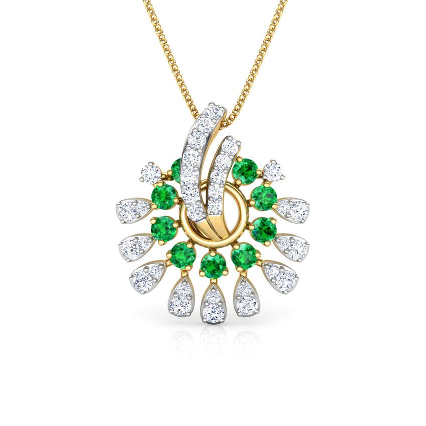 Diamond,Gemstone Pendants 18 Karat Yellow Gold Mahika Vibrant Gemstone Pendant