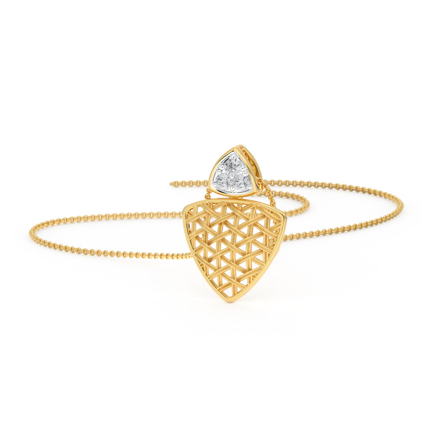 Diamond Pendants 18 Karat Yellow Gold Trigon Interlaced Diamond Pendant