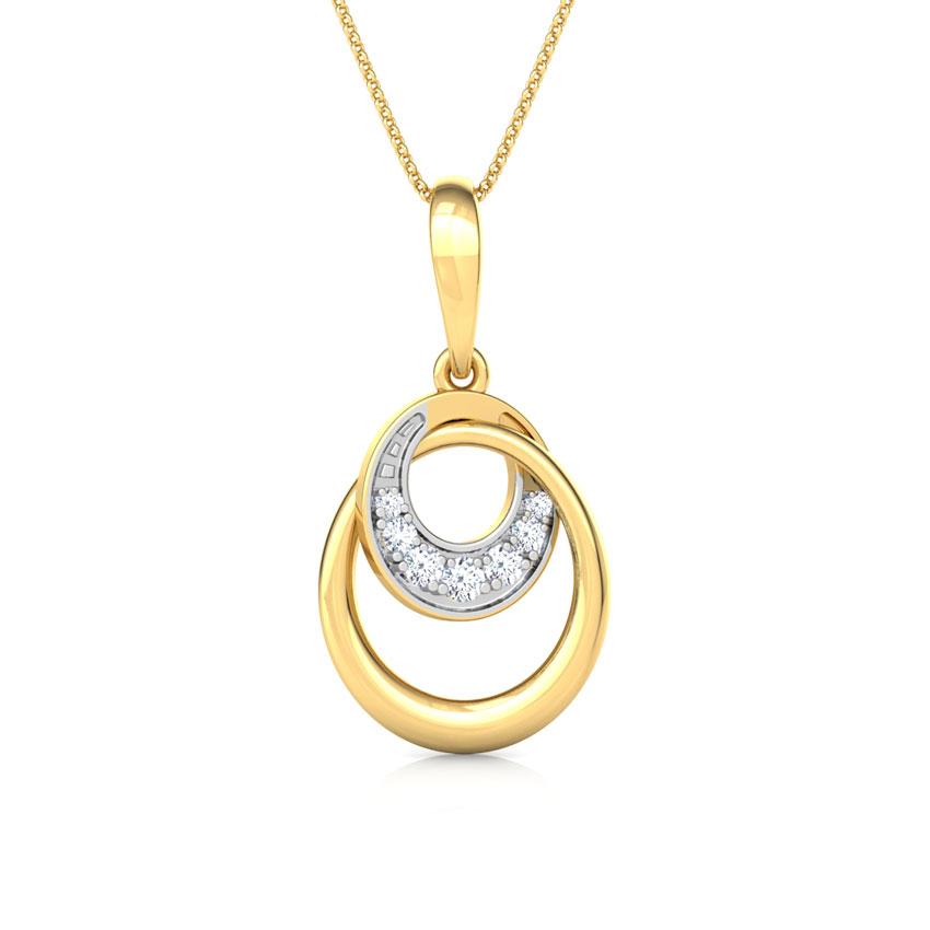 Diamond Pendants 18 Karat Yellow Gold Interloop Diamond Pendant