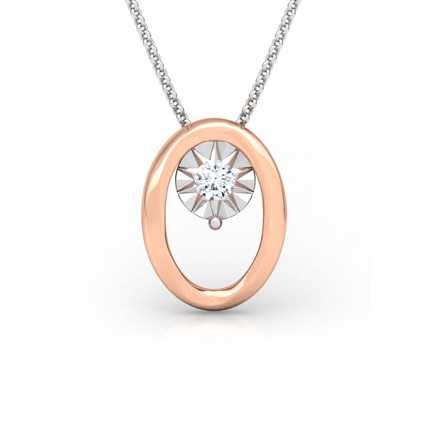 Diamond Pendants 18 Karat Rose Gold Oval Miracle Plate Diamond Pendant
