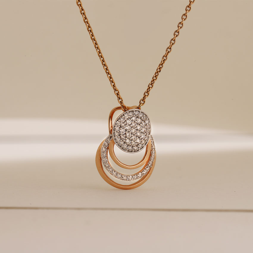 Diamond Pendants 18 Karat Rose Gold Echo Ovate Pendant