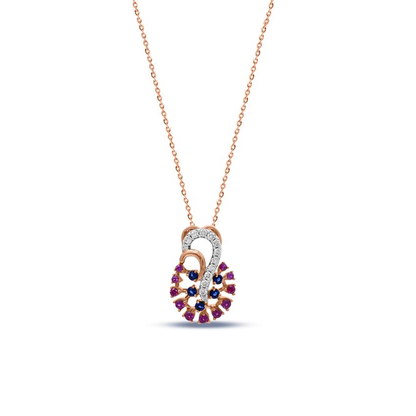 Diamond,Gemstone Pendants 18 Karat Yellow Gold Mishti Vibrant Gemstone Pendant