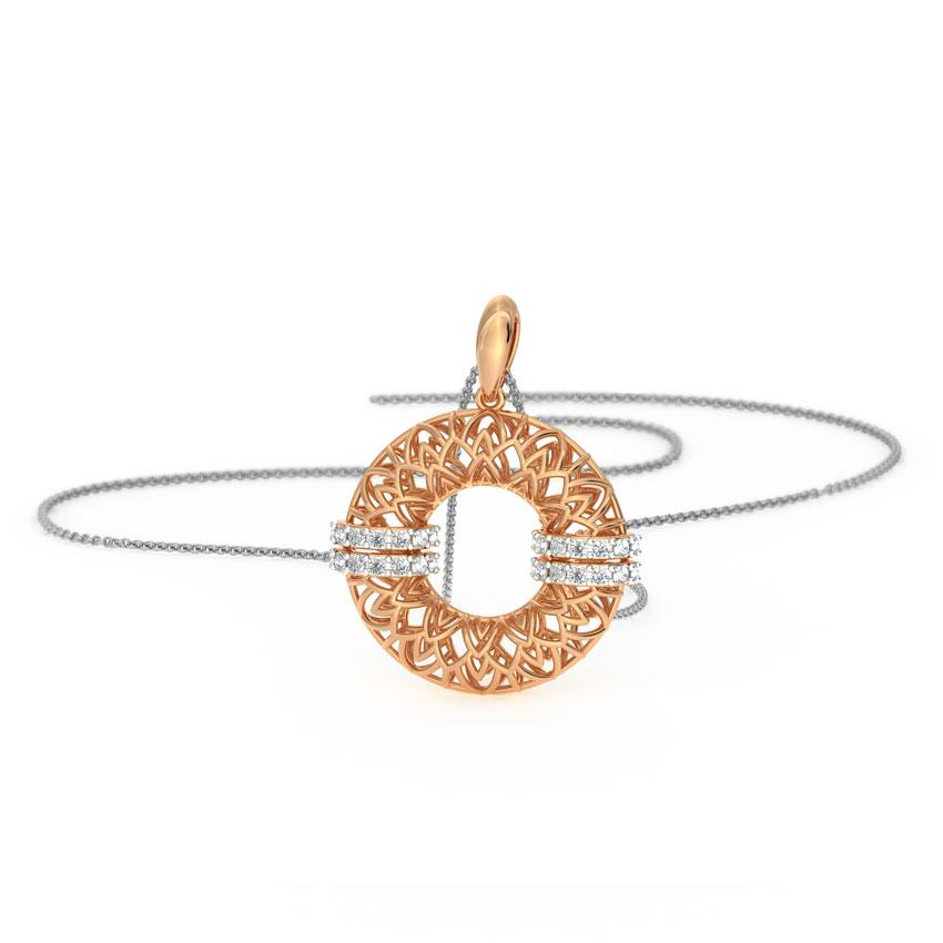 Diamond Pendants 18 Karat Rose Gold Circlet Mesh Diamond Pendant