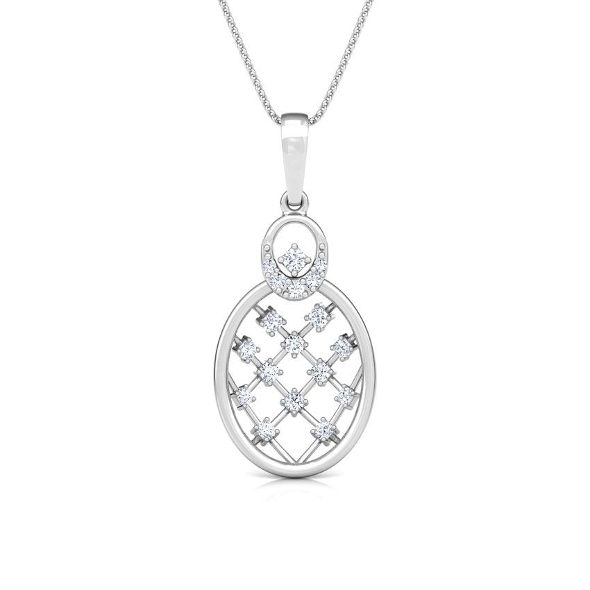 Diamond Pendants 18 Karat White Gold Lattice Diamond Pendant