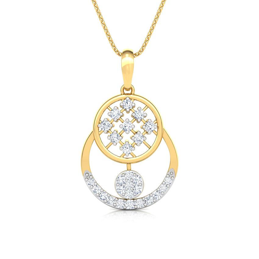 Diamond Pendants 18 Karat Yellow Gold Overlay Cluster Diamond Pendant