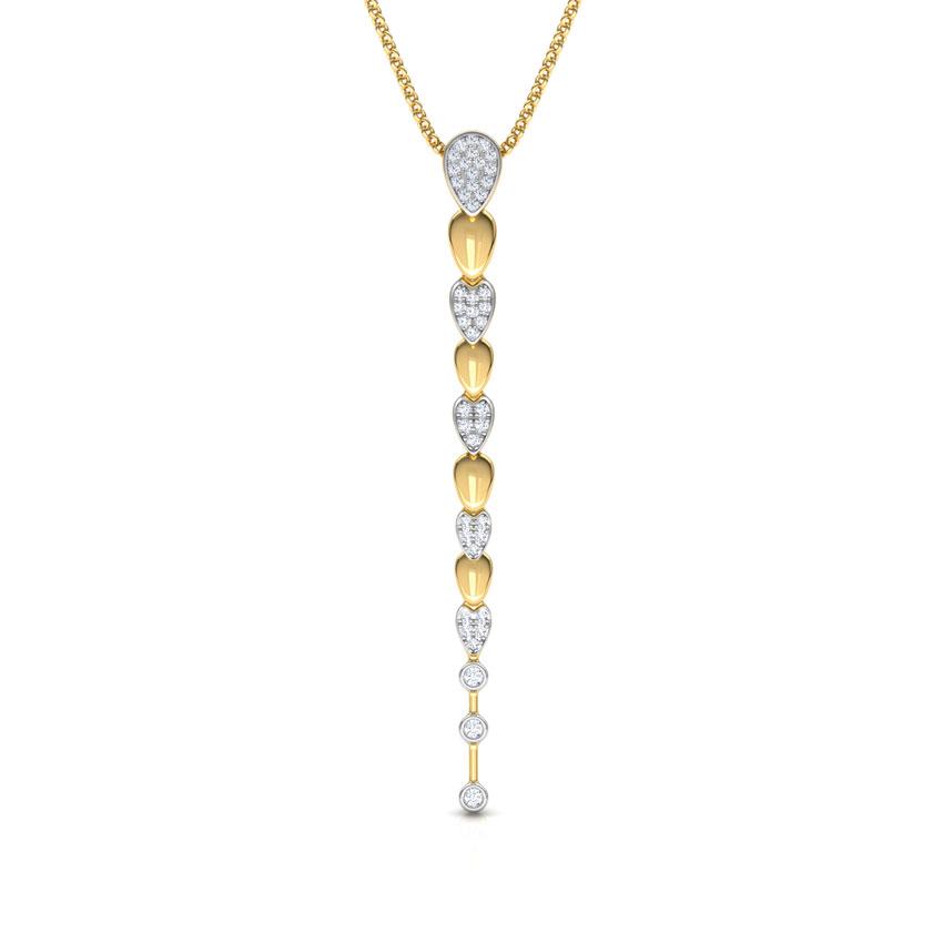Diamond Pendants 18 Karat Yellow Gold Pear Journey Diamond Pendant