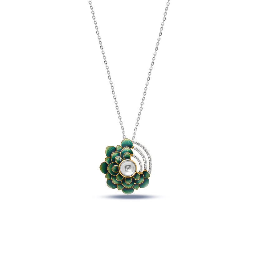 Diamond,Gemstone Pendants 18 Karat Yellow Gold Anoushka Blooming Gemstone Pendant