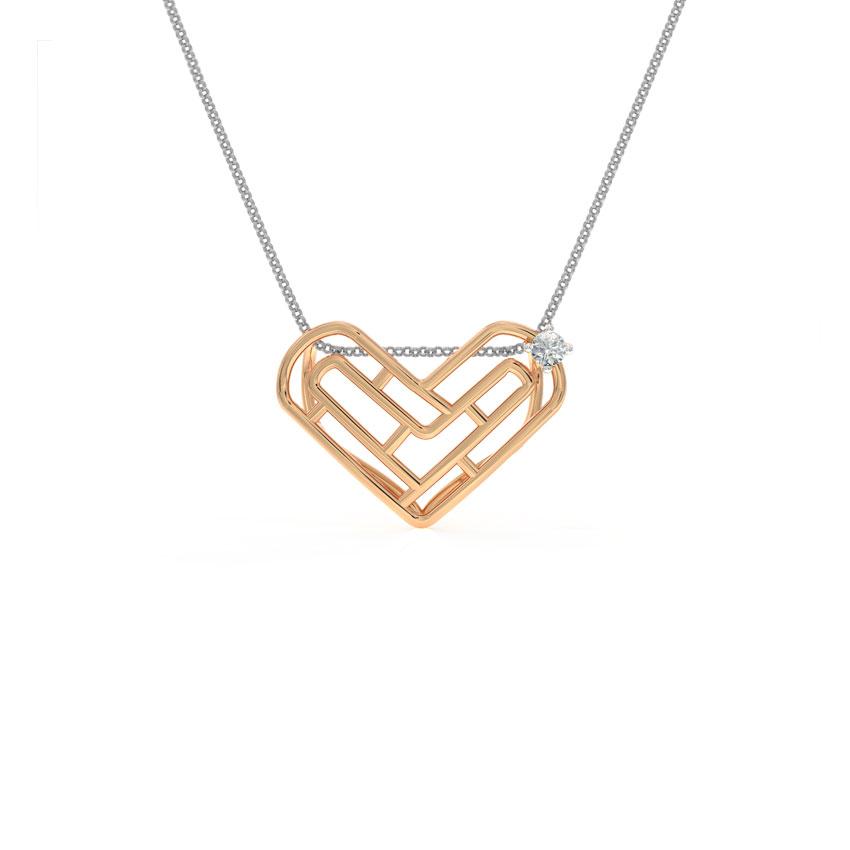 Diamond Pendants 14 Karat Rose Gold Maze Heart Diamond Pendant