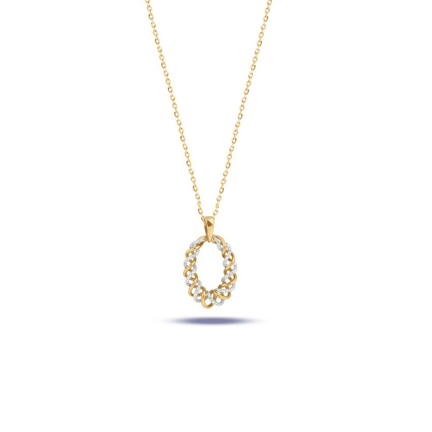 Diamond Pendants 14 Karat Rose Gold Graceful Entwined Diamond Pendant