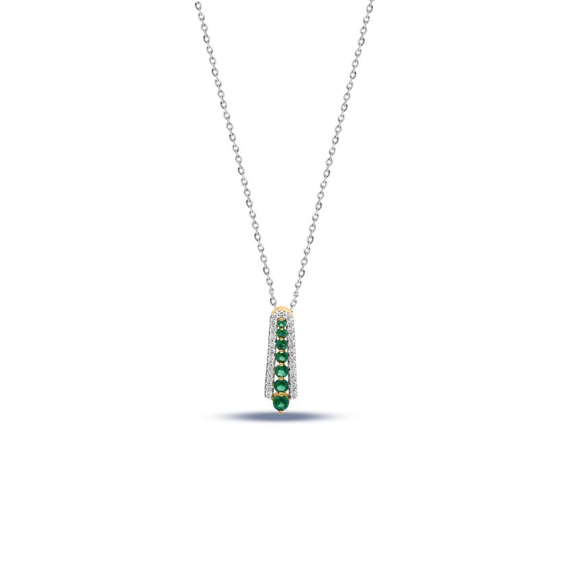 Diamond,Gemstone Pendants 14 Karat White Gold Sara Linear Gemstone Pendant