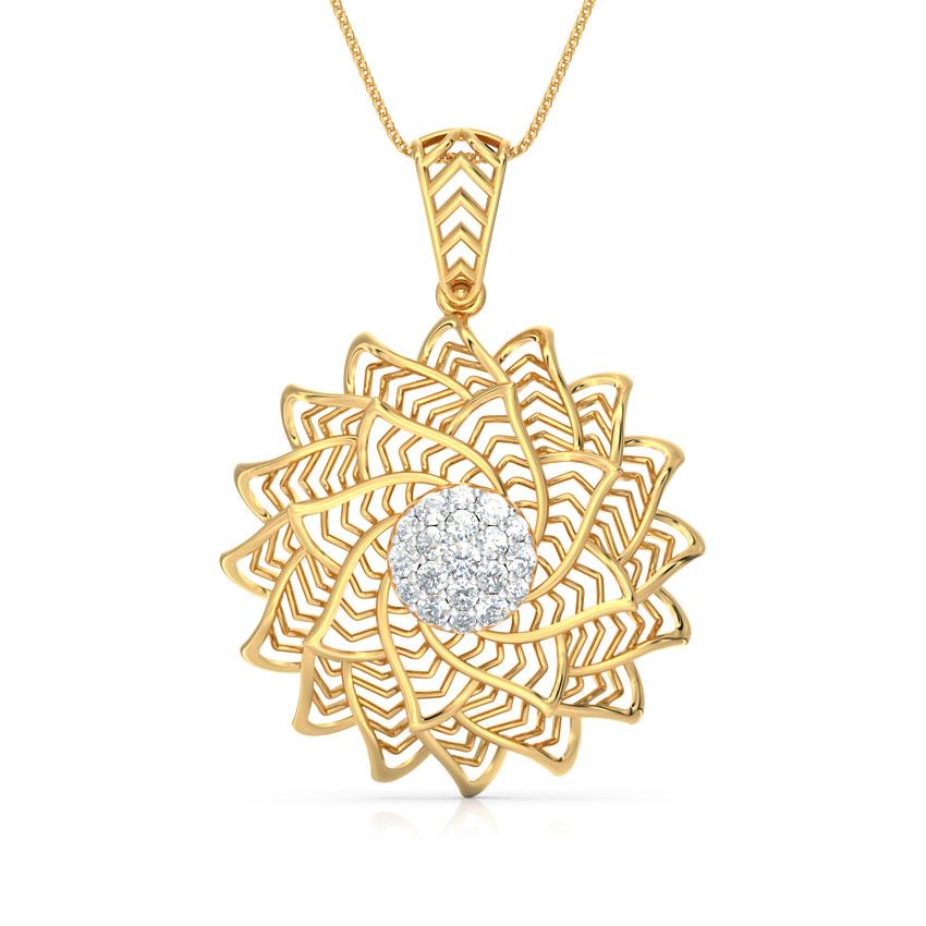 Diamond Pendants 18 Karat Yellow Gold Spiral Aloe Fractal Diamond Pendant