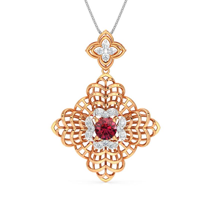 Diamond,Gemstone Pendants 18 Karat Rose Gold Crassula Fractal Gemstone Pendant