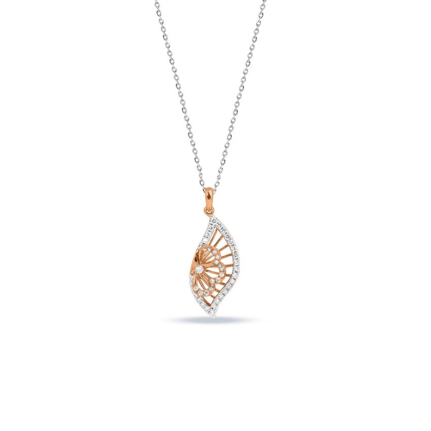 Diamond Pendants 14 Karat Rose Gold Shanza Frill Diamond Pendant
