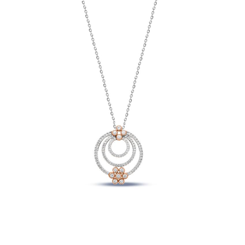 Diamond Pendants 18 Karat Two Tone Gold Morgan Blooming Necklace