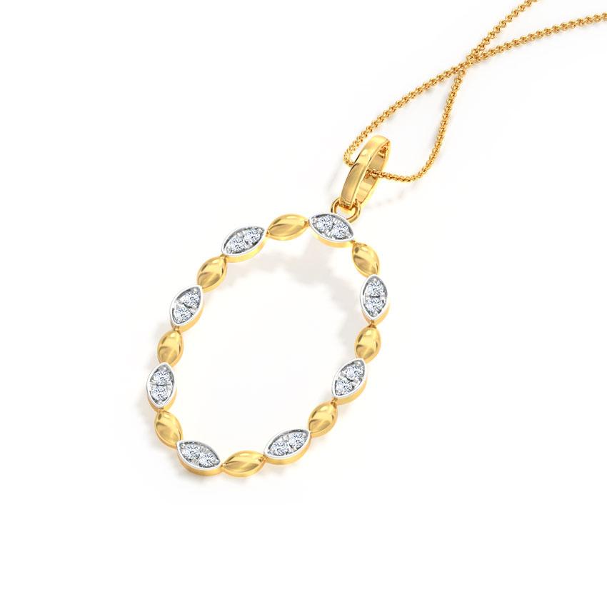 Diamond Pendants 14 Karat Yellow Gold Oval Halo Diamond Pendant