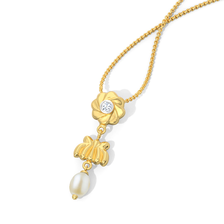 Diamond,Gemstone Pendants 18 Karat Yellow Gold Krupali Floral Gemstone Pendant