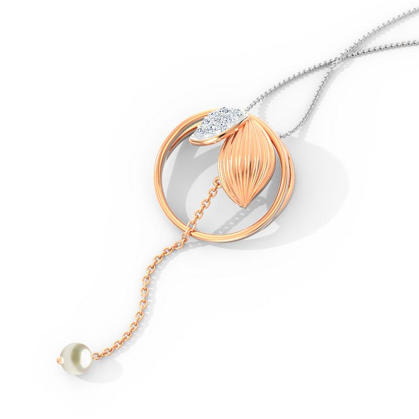 Diamond,Gemstone Pendants 14 Karat Rose Gold Encircled Leaflet Diamond Pendant