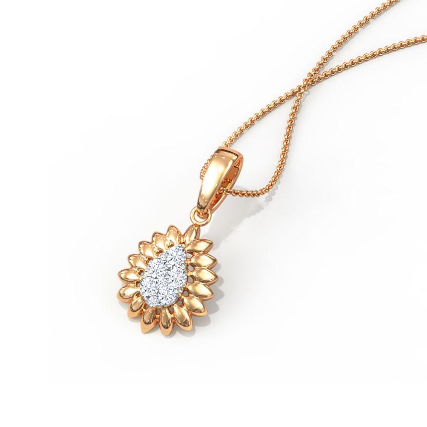 Diamond Pendants 14 Karat Rose Gold Sunrays Cluster Diamond Pendant