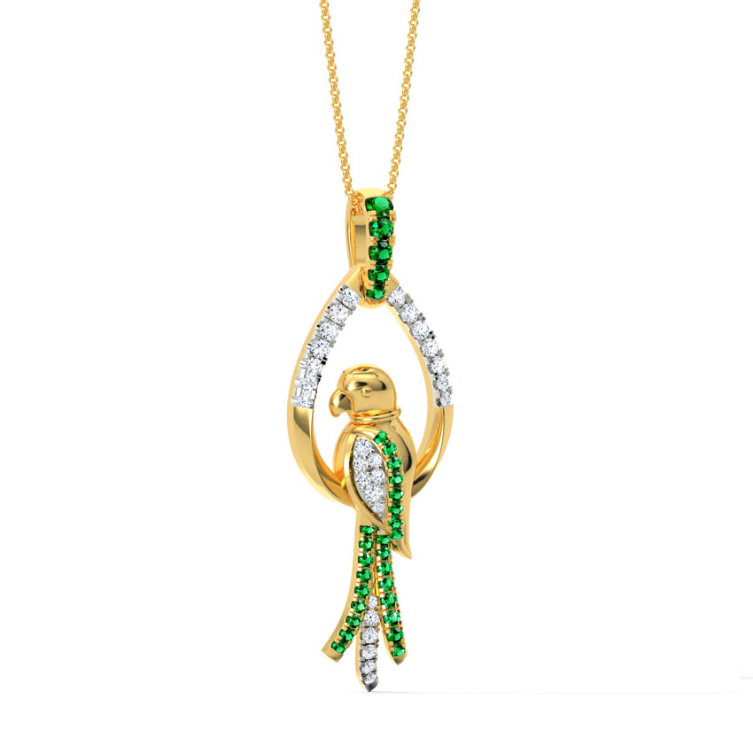 Diamond,Gemstone Pendants 18 Karat Yellow Gold Adorable Parrot Gemstone Pendant