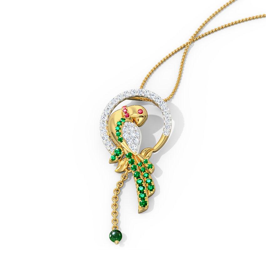Diamond,Gemstone Pendants 18 Karat Yellow Gold Grandiose Parrot Pendant