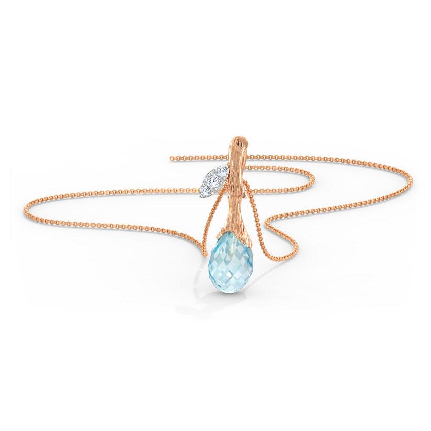 Diamond,Gemstone Pendants 14 Karat Rose Gold Delicate Dewdrops Gemstone Pendant