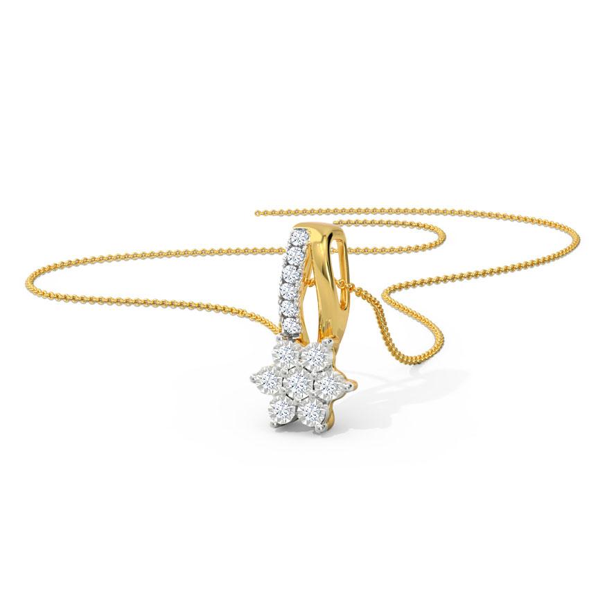 Diamond Pendants 18 Karat Yellow Gold Sparkle Miracle Plate Diamond Pendant