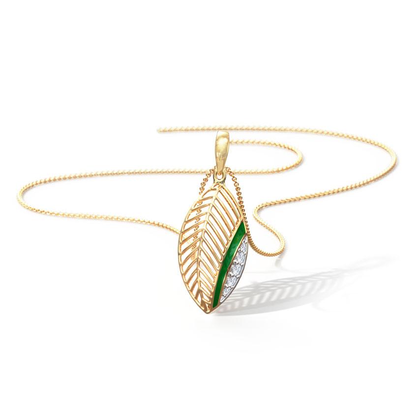 Diamond Pendants 18 Karat Yellow Gold Justine Diamond Leaf Pendant