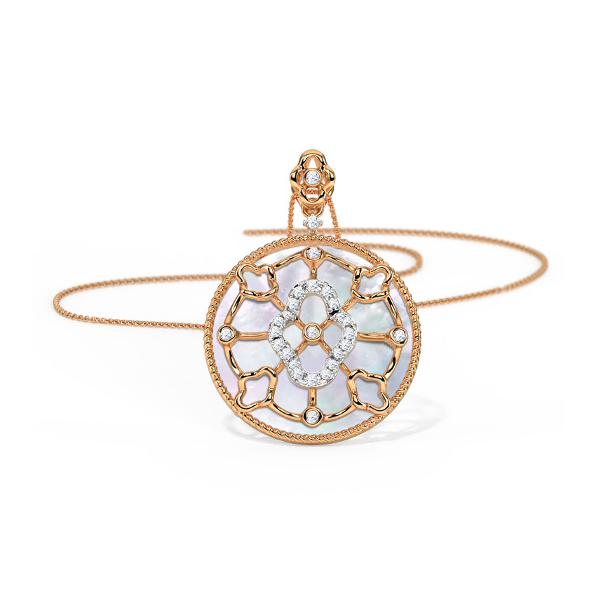 Diamond,Gemstone Pendants 14 Karat Rose Gold Ornate Gemstone Pendant