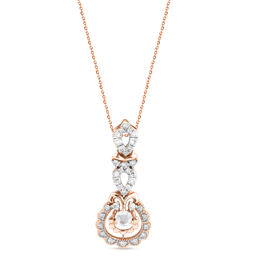 Diamond,Gemstone Pendants 18 Karat Rose Gold Timeless Sparkle Gemstone Pendant
