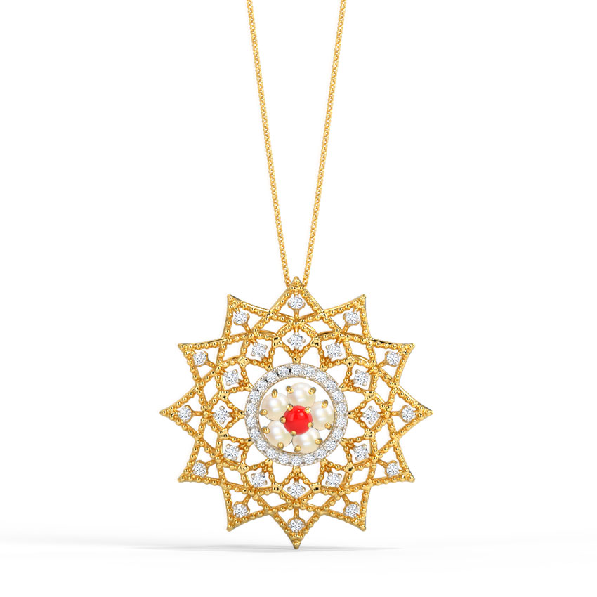 Diamond,Gemstone Pendants 18 Karat Rose Gold Grace Kelly Gemstone Pendant