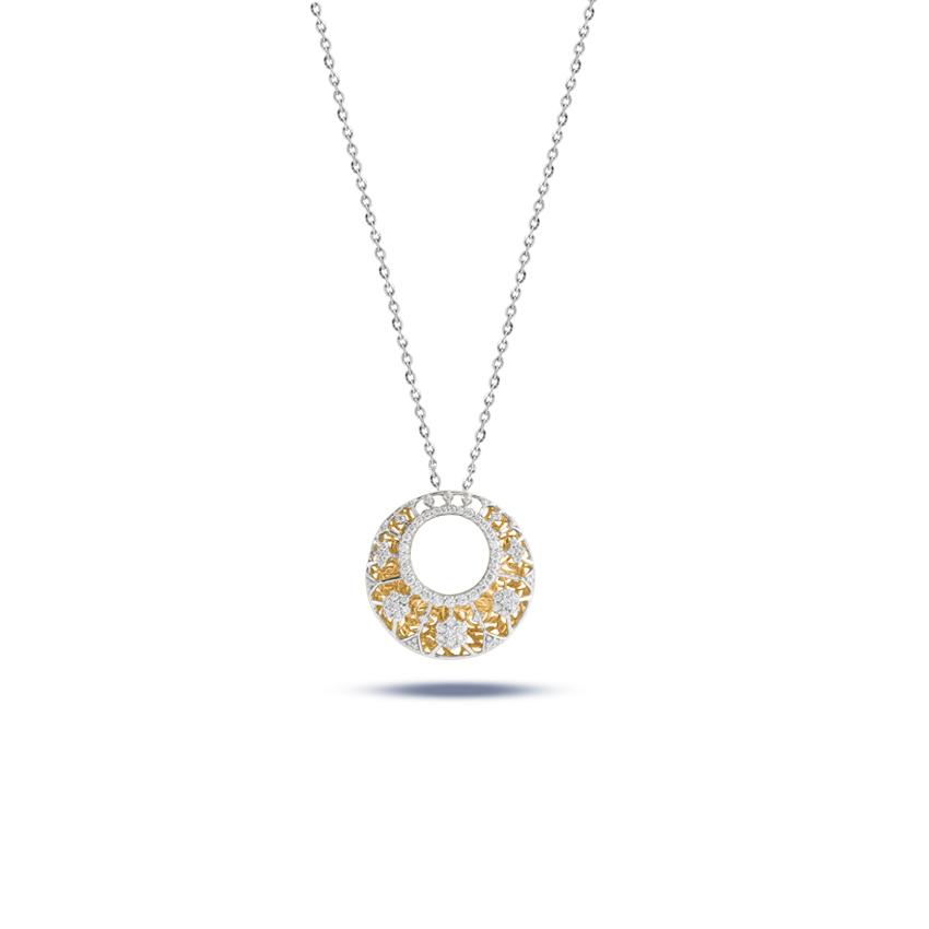 Diamond Pendants 18 Karat Two Tone Gold Beauty Galore Diamond Pendant