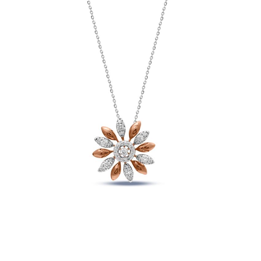 Diamond Pendants 14 Karat Rose Gold Zara Sunflower Diamond Pendant